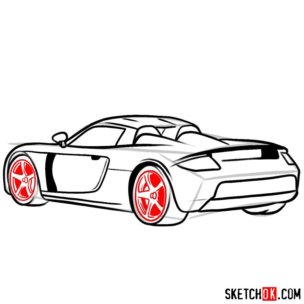 How to draw Porsche Carrera GT rear view - step 09