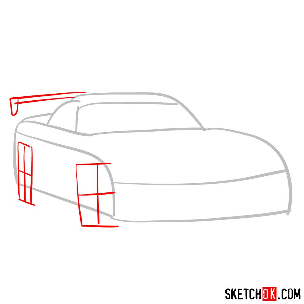 How to draw 2008 Dodge Viper SRT10 ACR - step 02