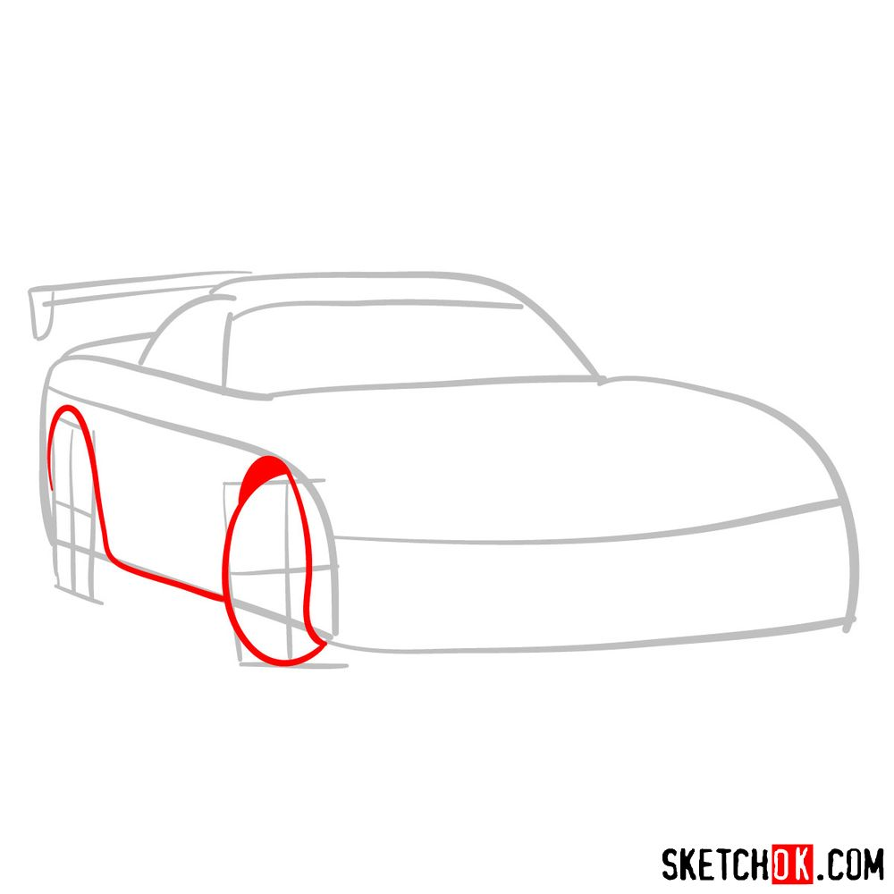 How to draw 2008 Dodge Viper SRT10 ACR - step 03