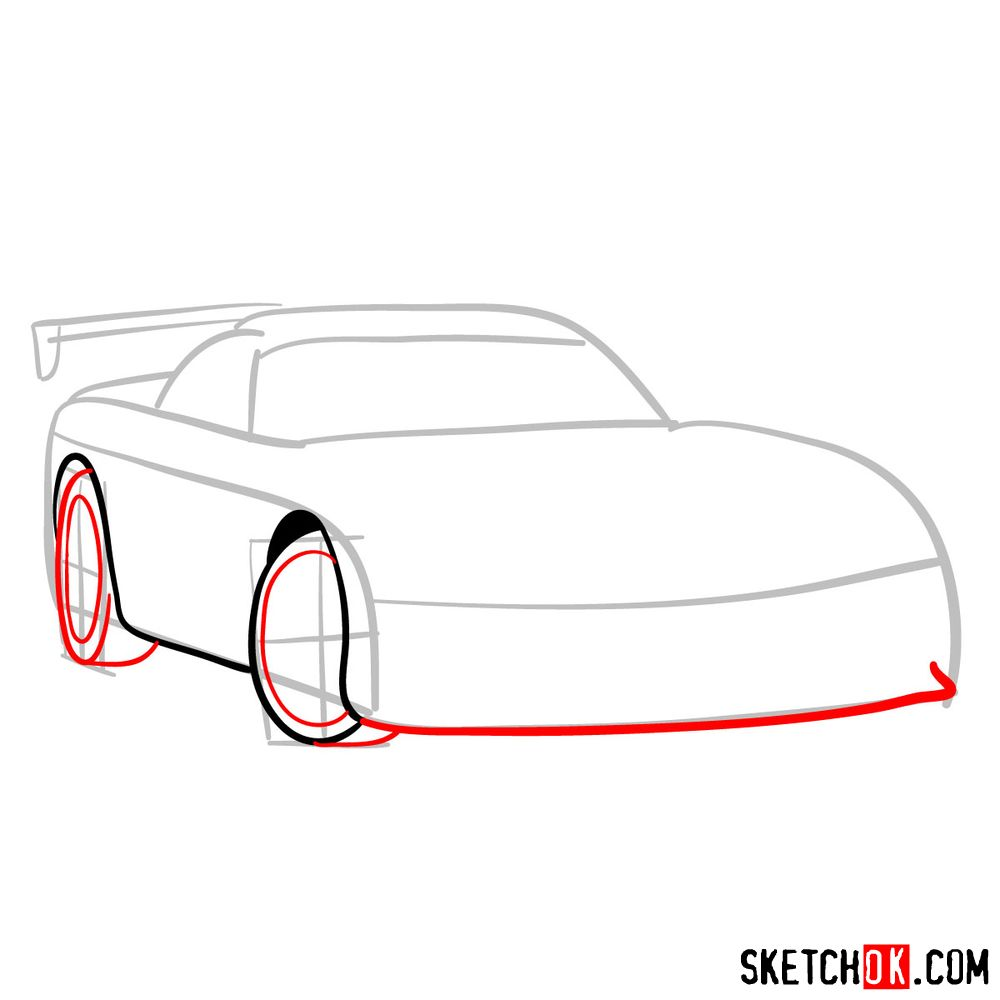 How to draw 2008 Dodge Viper SRT10 ACR - step 04