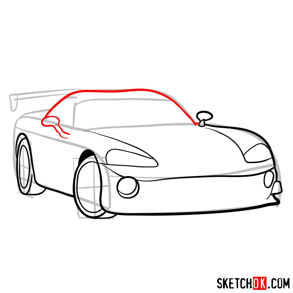 How to draw 2008 Dodge Viper SRT10 ACR - step 07