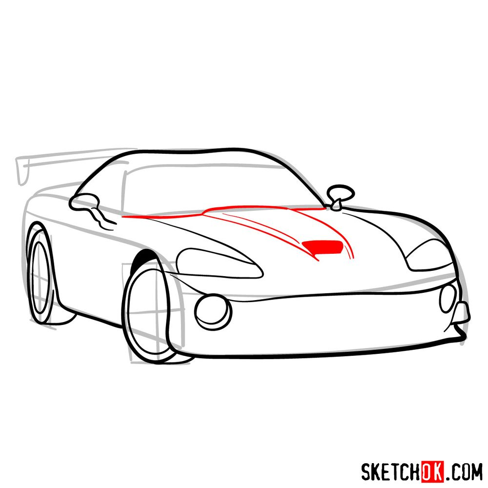 How to draw 2008 Dodge Viper SRT10 ACR - step 08
