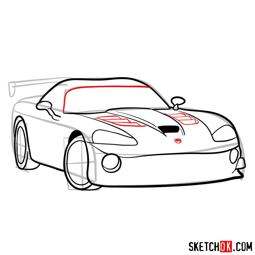 How to draw 2008 Dodge Viper SRT10 ACR - step 09