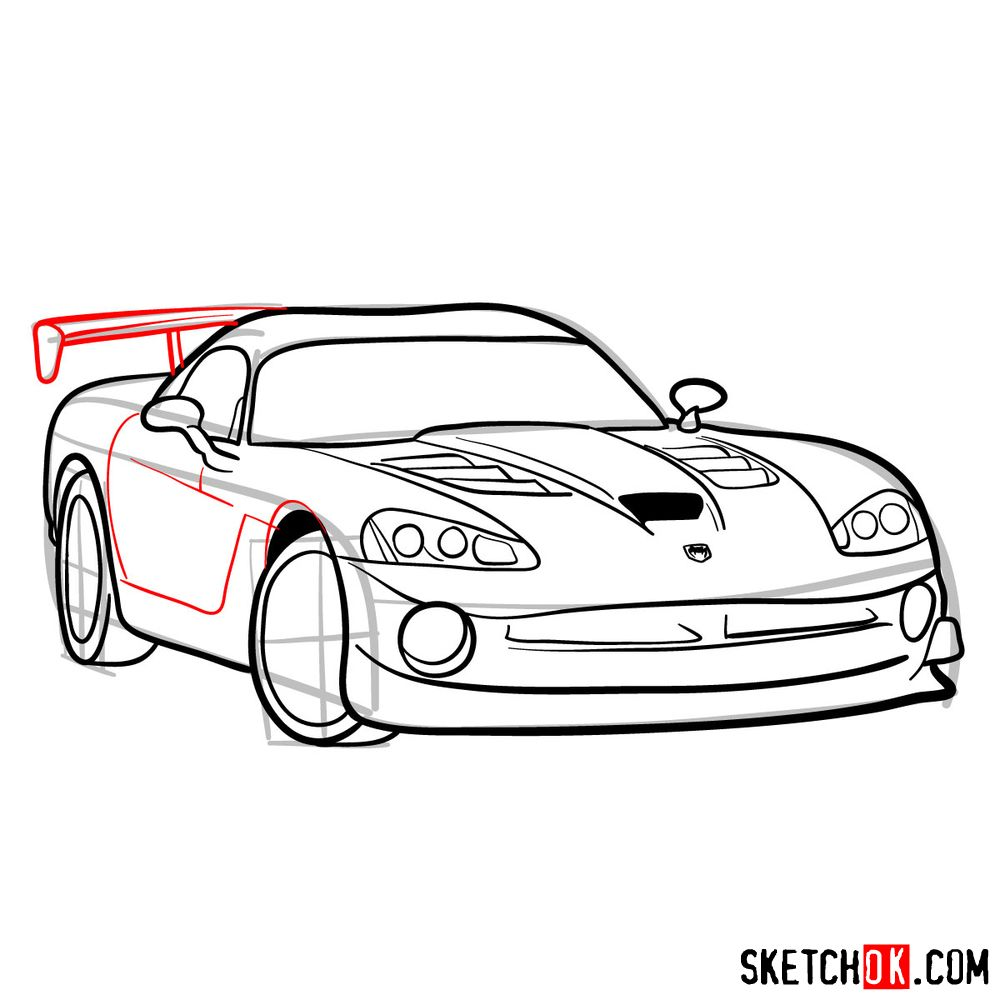 How to draw 2008 Dodge Viper SRT10 ACR - step 12