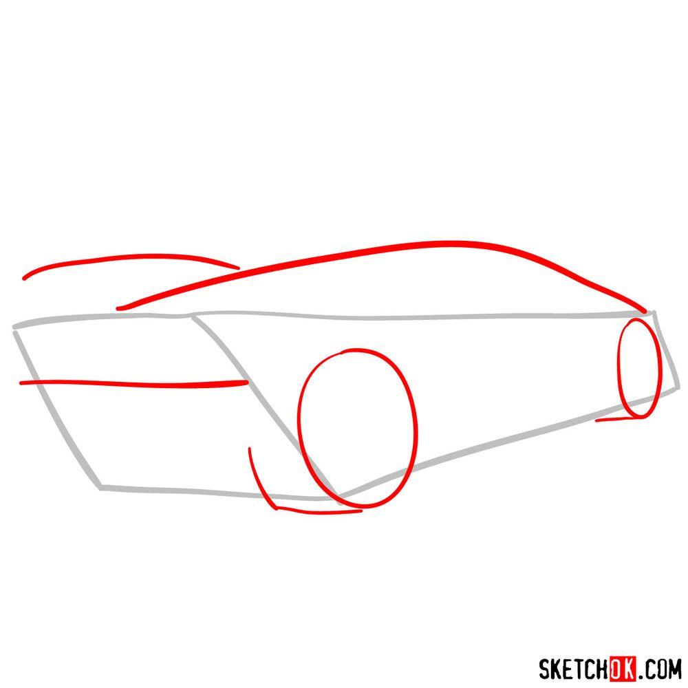 How to draw Lamborghini Sesto Elemento rear view - step 02