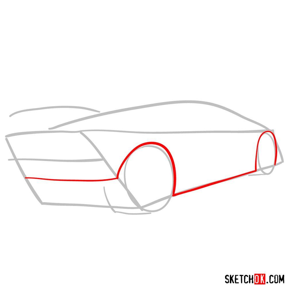 How to draw Lamborghini Sesto Elemento rear view - step 03