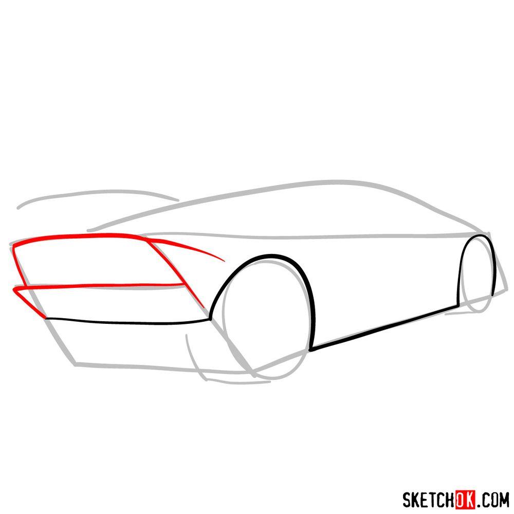 How to draw Lamborghini Sesto Elemento rear view - step 04