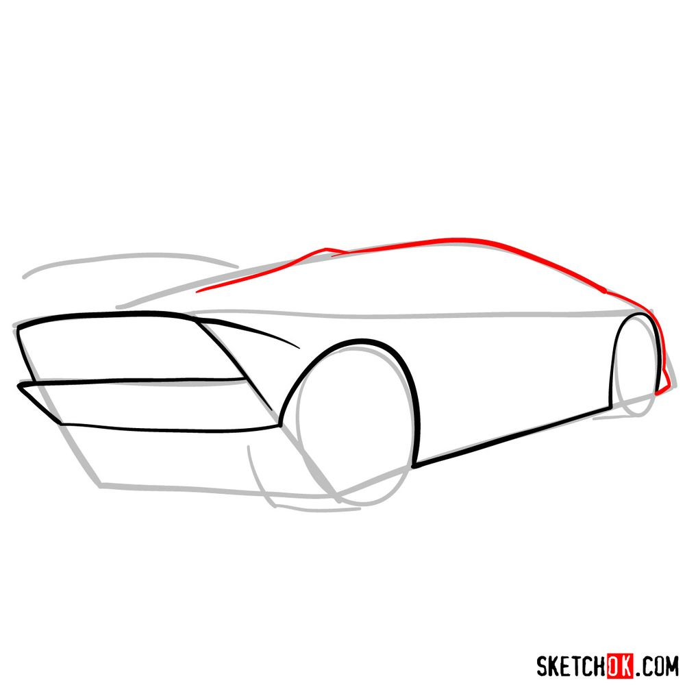How to draw Lamborghini Sesto Elemento rear view - step 05