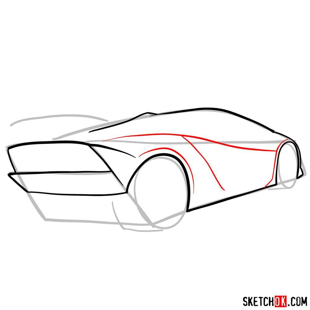 How to draw Lamborghini Sesto Elemento rear view - step 06