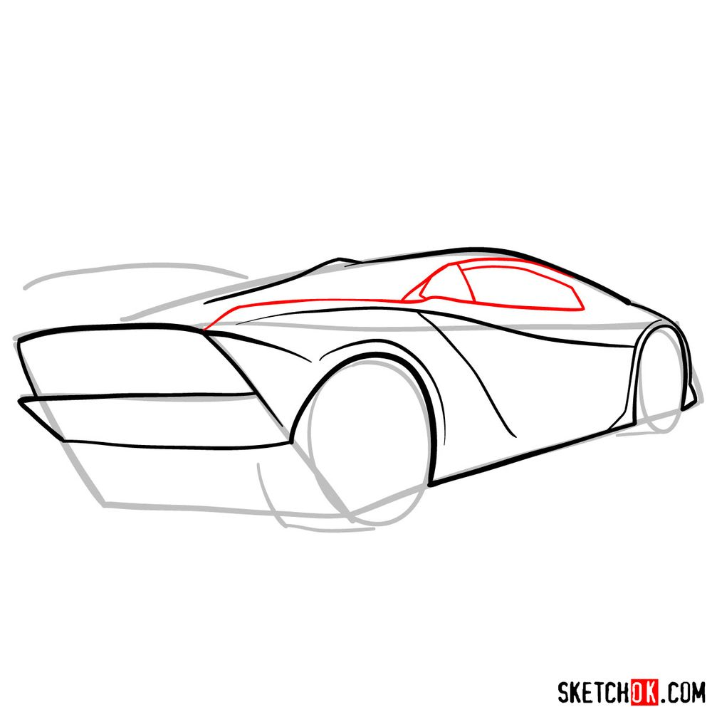 How to draw Lamborghini Sesto Elemento rear view - step 07