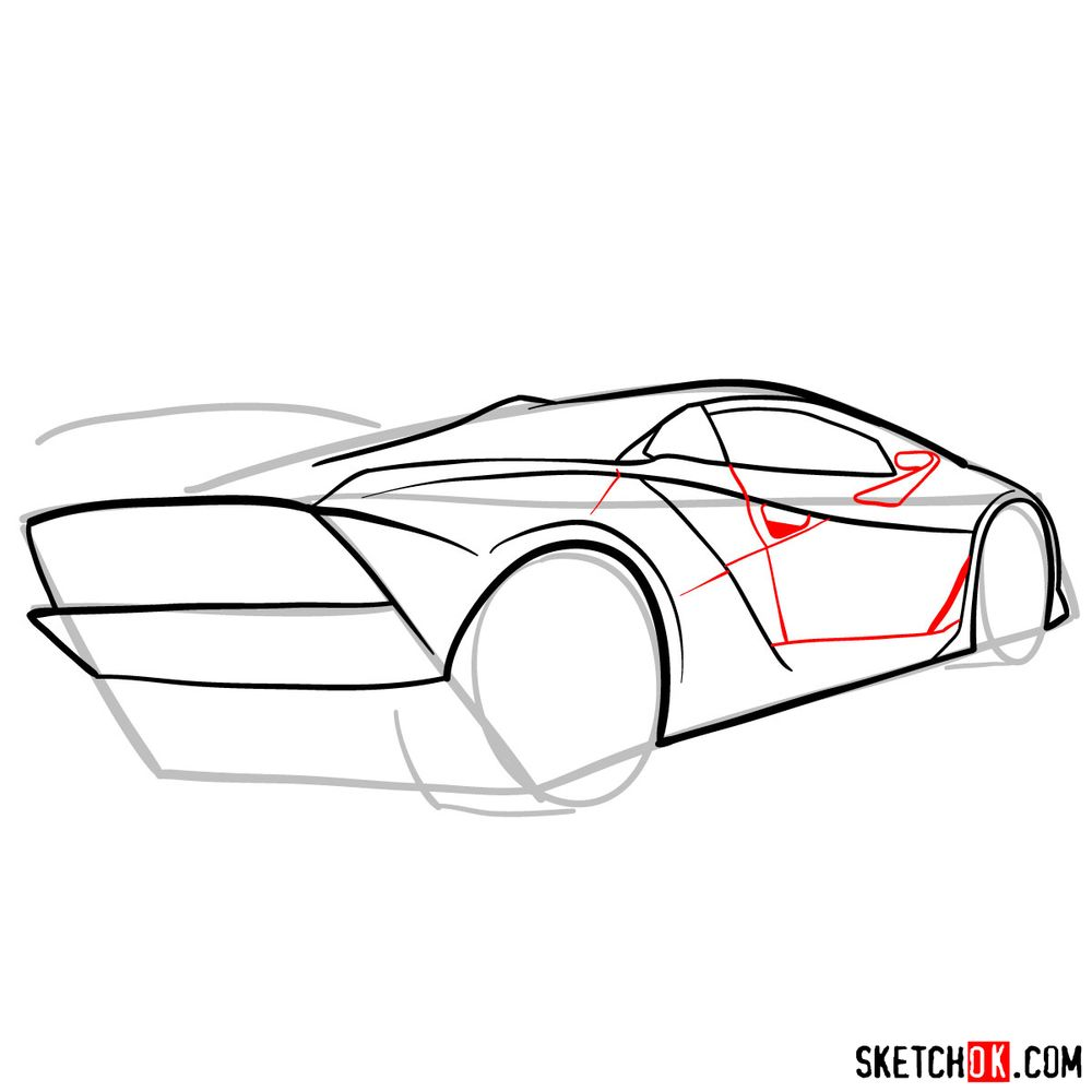 How to draw Lamborghini Sesto Elemento rear view - step 08