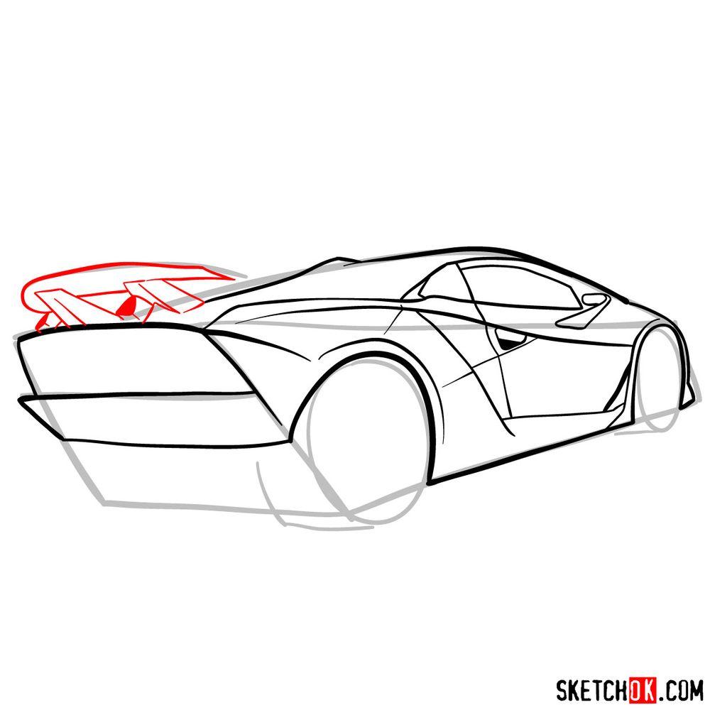 How to draw Lamborghini Sesto Elemento rear view - step 09