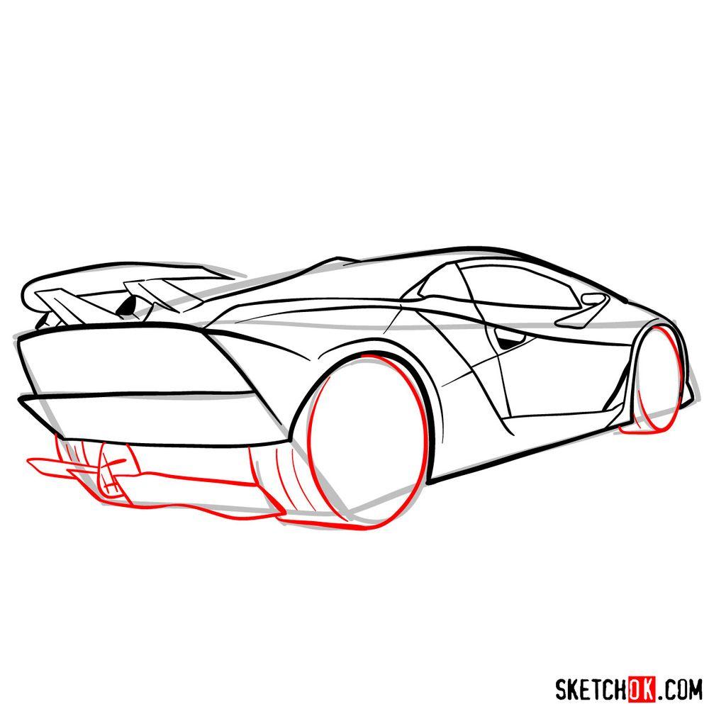 How to draw Lamborghini Sesto Elemento rear view - step 10