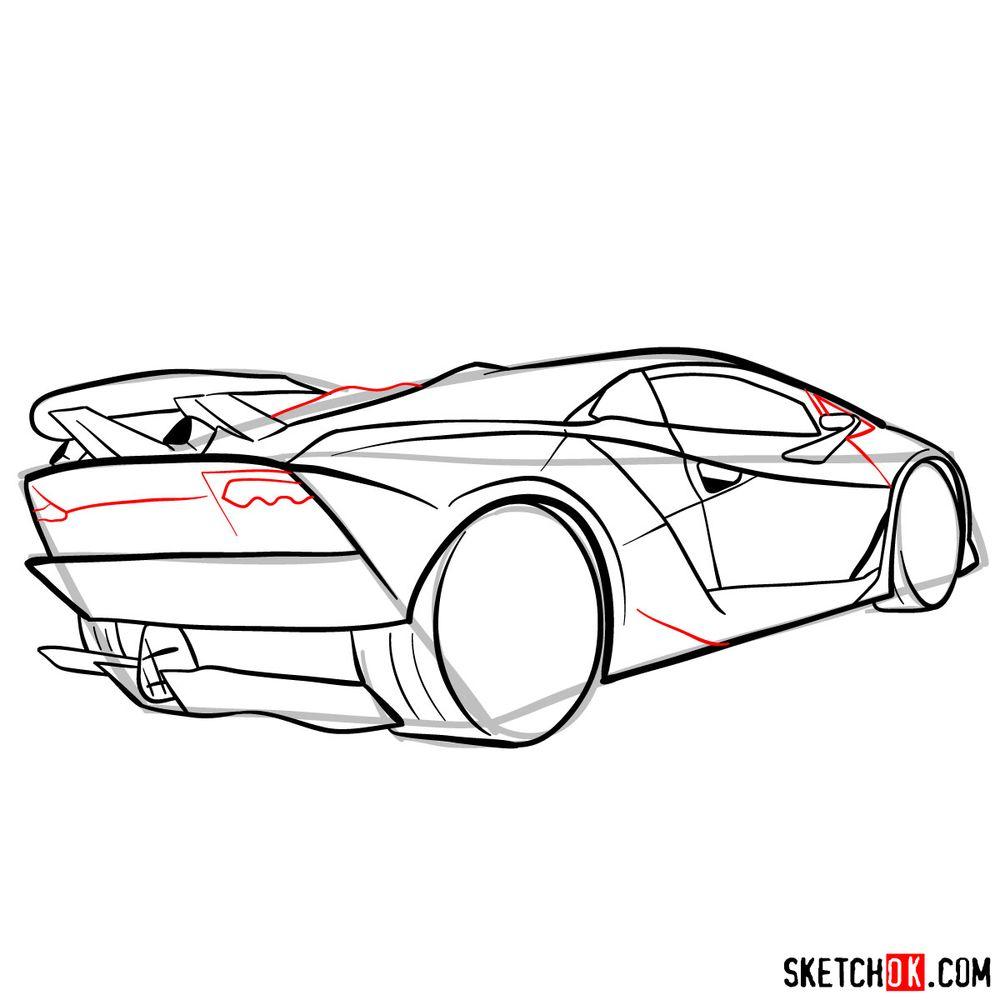 How to draw Lamborghini Sesto Elemento rear view - step 11