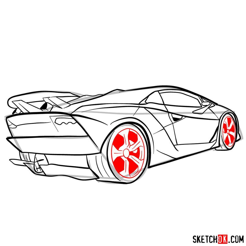How to draw Lamborghini Sesto Elemento rear view - step 12