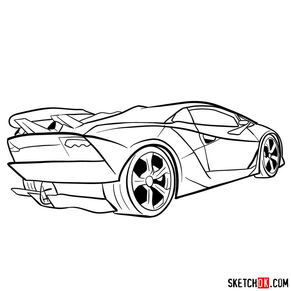 How to draw Lamborghini Sesto Elemento rear view - step 13