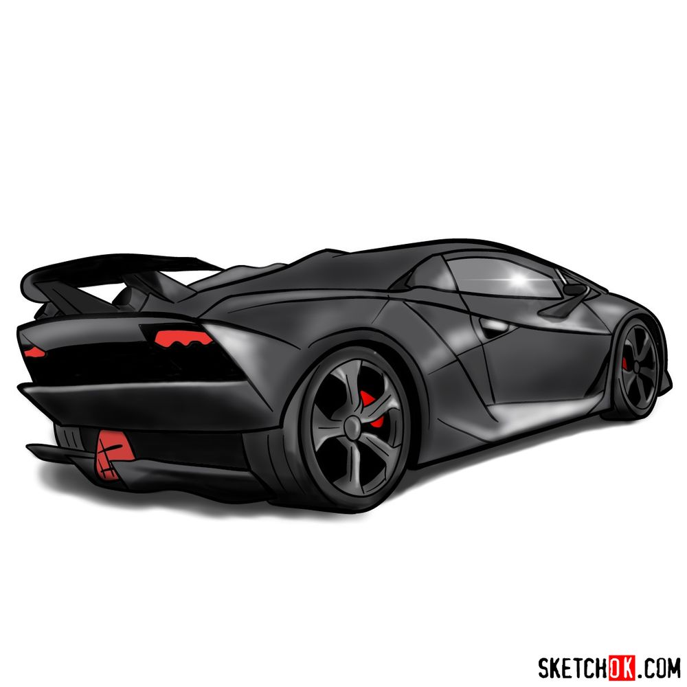 How to draw Lamborghini Sesto Elemento rear view