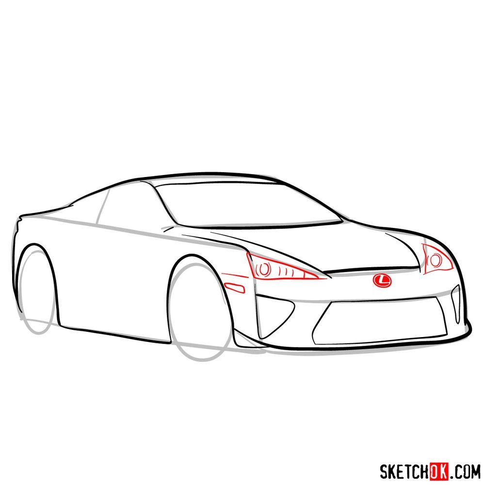 How to draw Lexus LFA - step 09