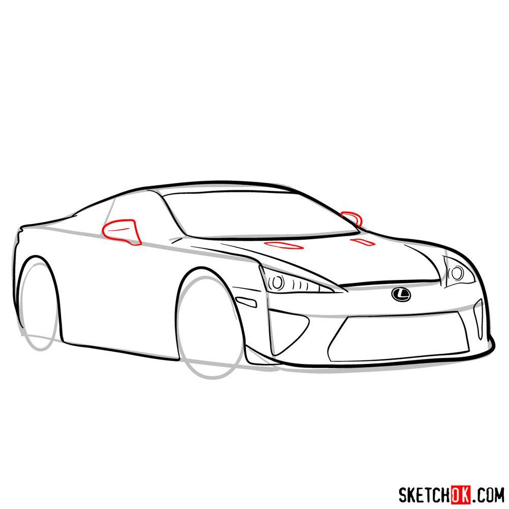 How to draw Lexus LFA - step 10