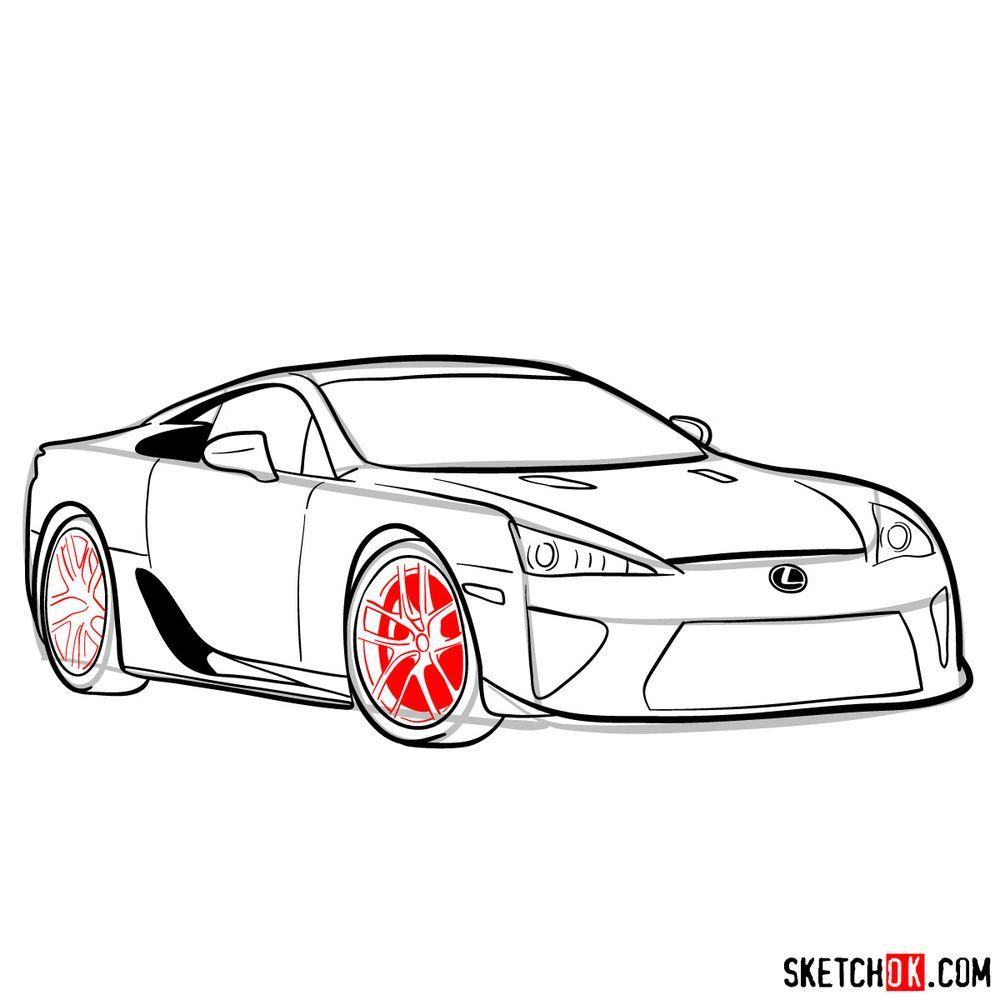 How to draw Lexus LFA - step 14