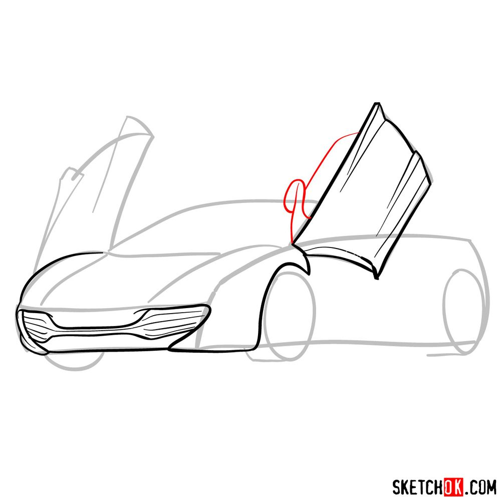 How to draw McLaren MP4-12C - step 07