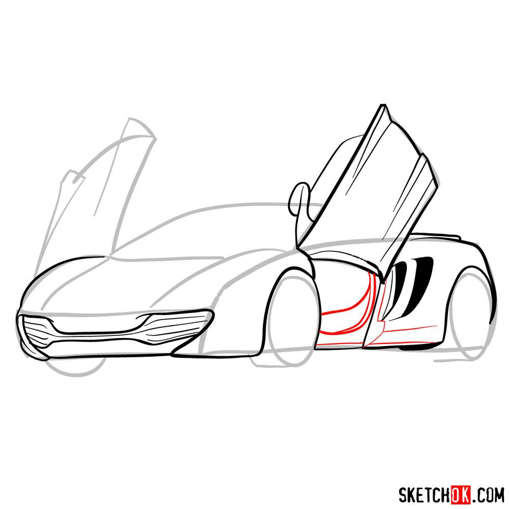 How to draw McLaren MP4-12C - step 10