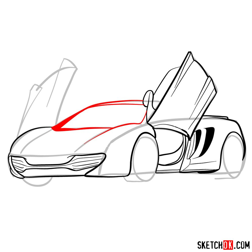 How to draw McLaren MP4-12C - step 11