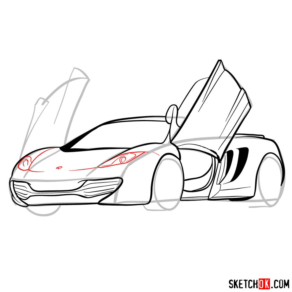 How to draw McLaren MP4-12C - step 12