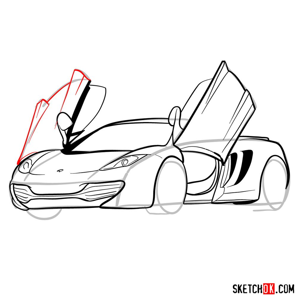 How to draw McLaren MP4-12C - step 14