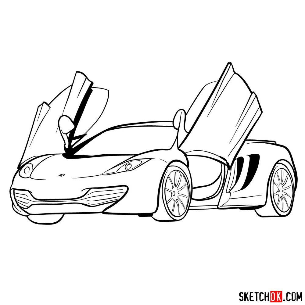 How to draw McLaren MP4-12C - step 17
