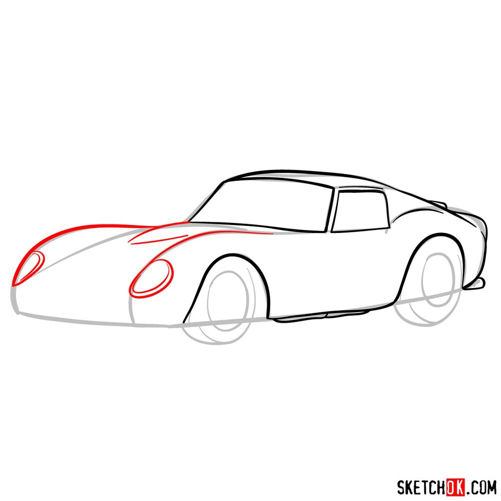 How to draw the 1962 Ferrari 250 GTO - step 07