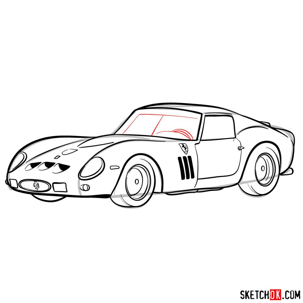 How to draw the 1962 Ferrari 250 GTO - step 14