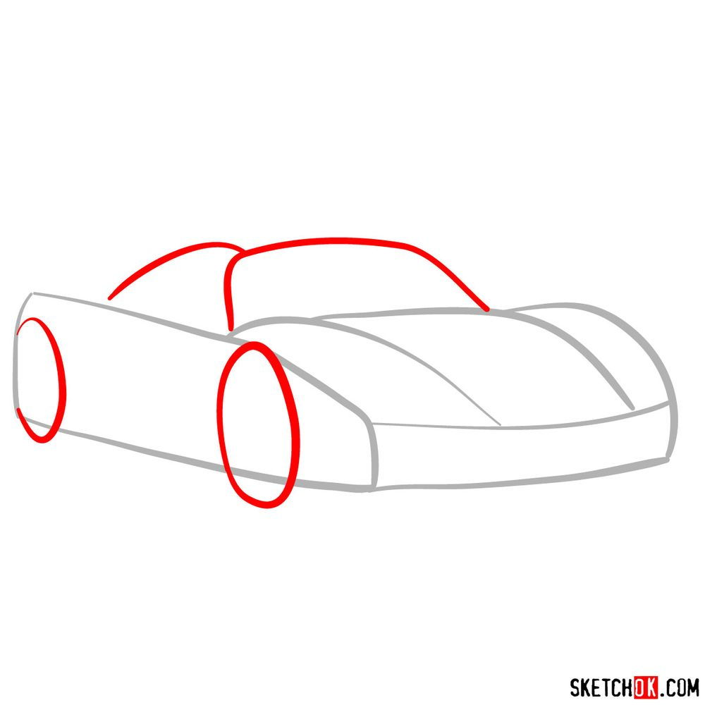 How to draw Porsche 918 Spyder - step 02