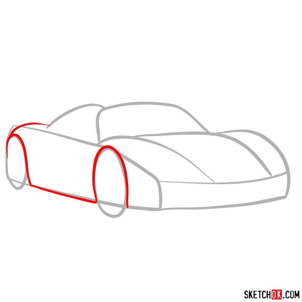 How to draw Porsche 918 Spyder - step 03