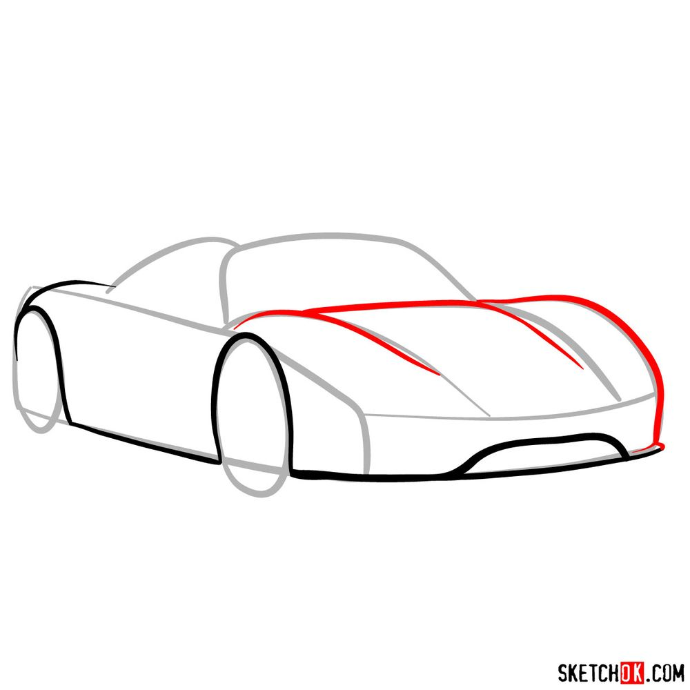 How to draw Porsche 918 Spyder - step 05