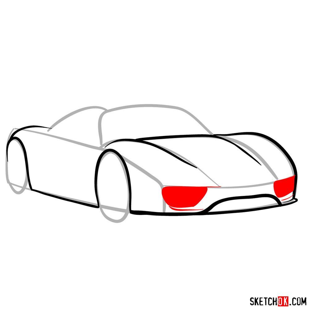 How to draw Porsche 918 Spyder - step 06
