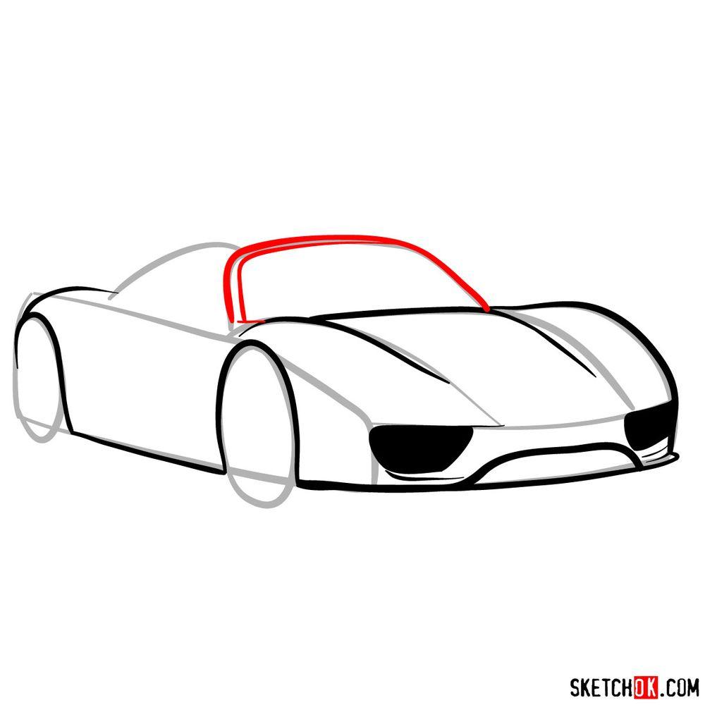 How to draw Porsche 918 Spyder - step 07
