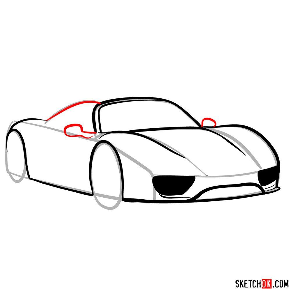How to draw Porsche 918 Spyder - step 08