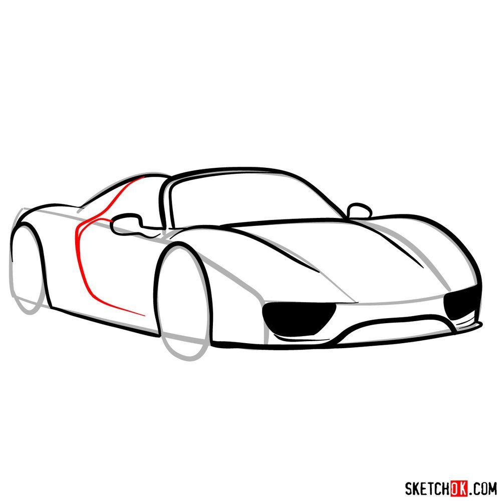 How to draw Porsche 918 Spyder - step 09