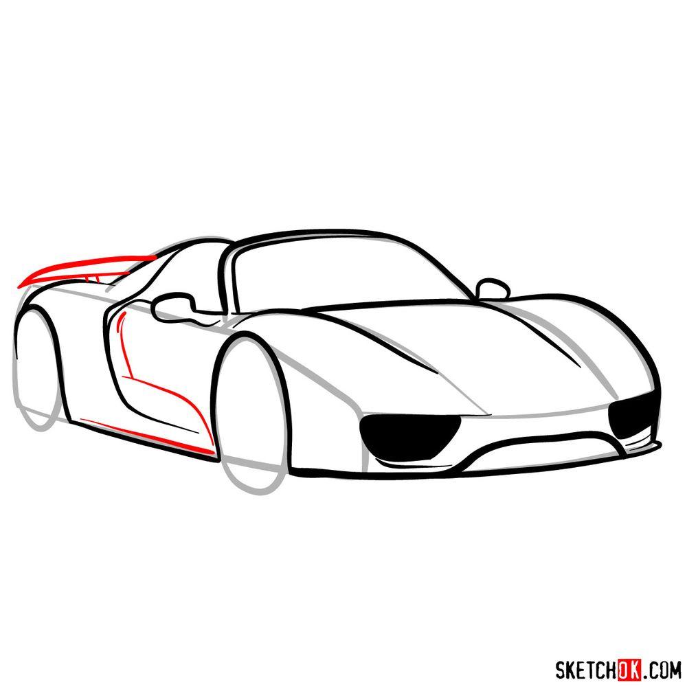 How to draw Porsche 918 Spyder - step 10