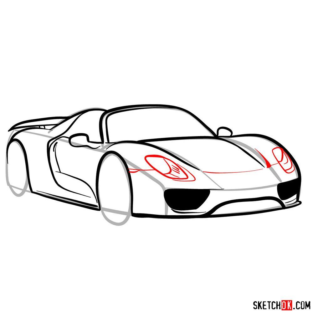 How to draw Porsche 918 Spyder - step 11
