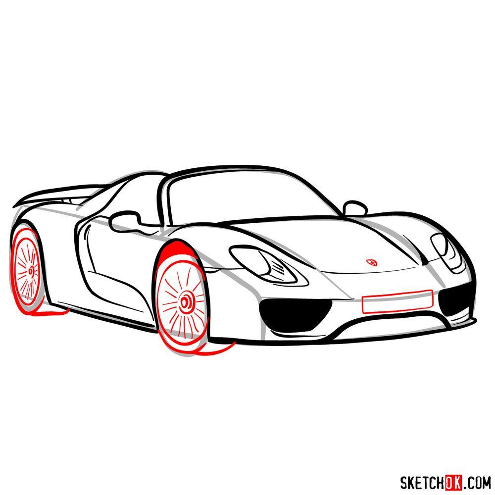 How to draw Porsche 918 Spyder - step 12