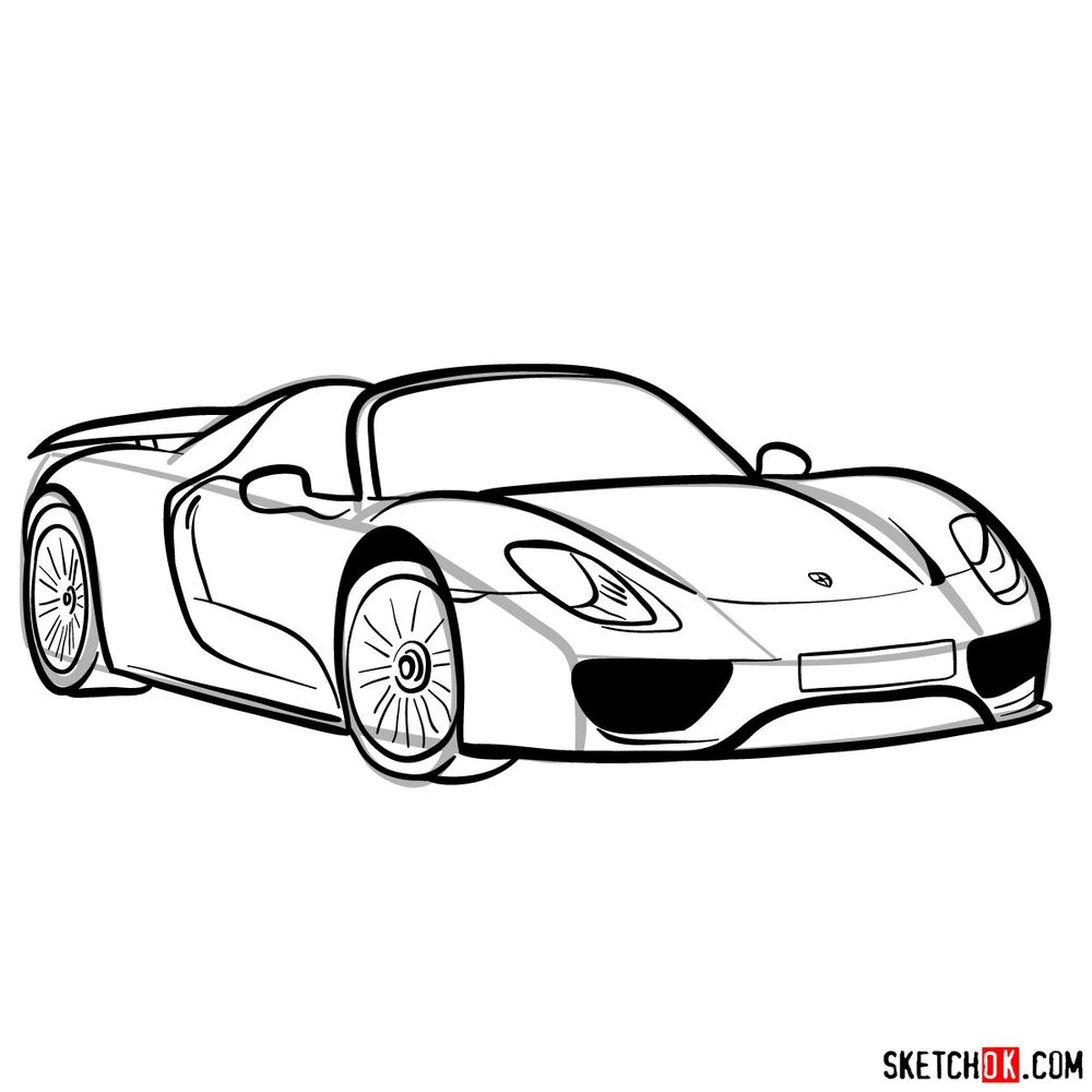 How to draw Porsche 918 Spyder