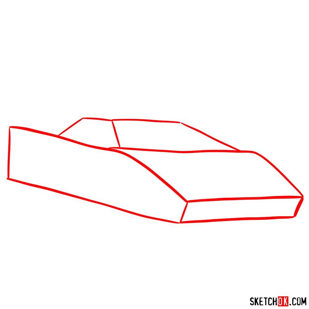 How to draw Lamborghini Countach - step 01