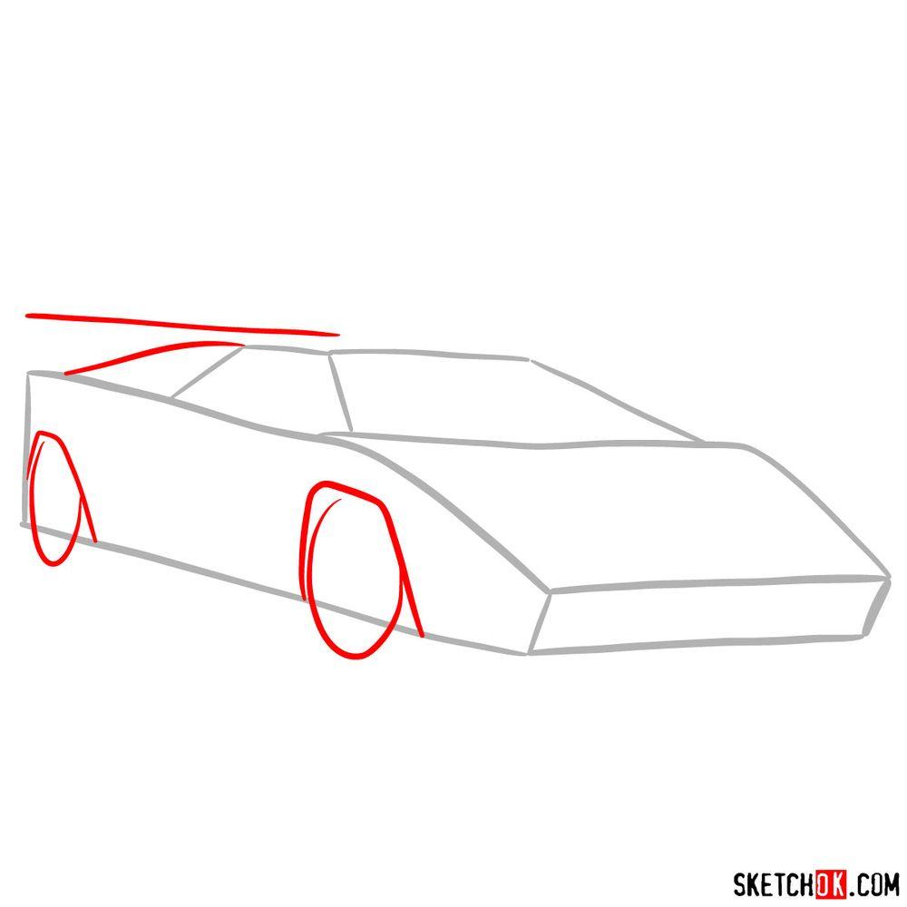 How to draw Lamborghini Countach - step 02