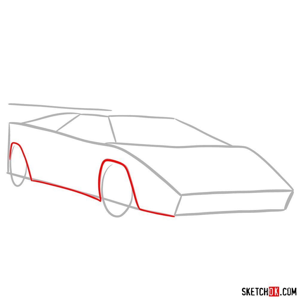 How to draw Lamborghini Countach - step 03