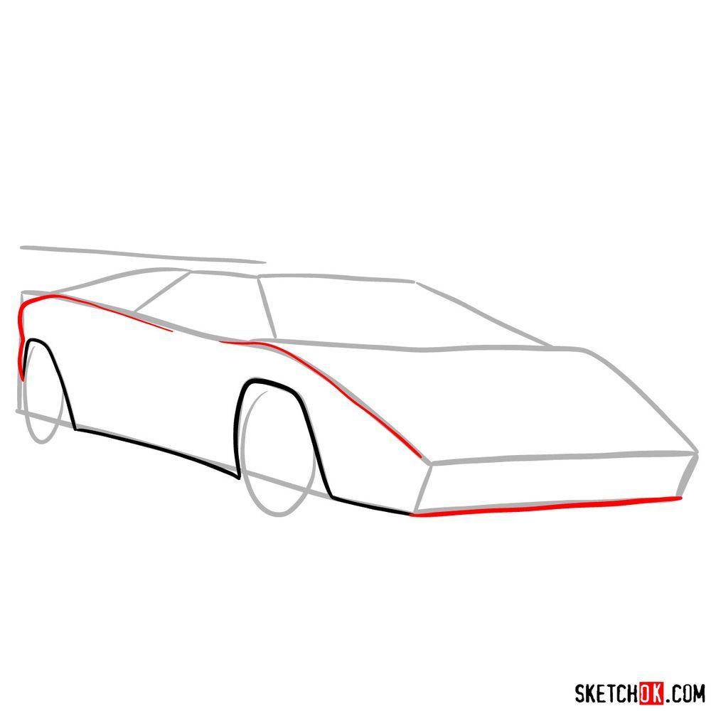 How to draw Lamborghini Countach - step 04