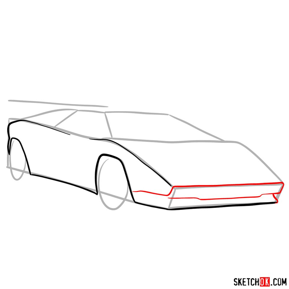 How to draw Lamborghini Countach - step 05