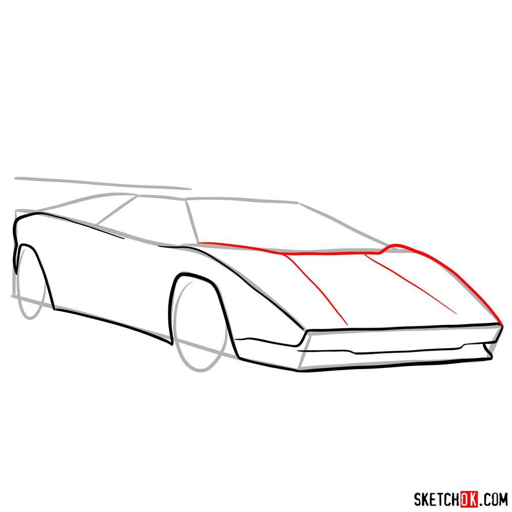 How to draw Lamborghini Countach - step 06