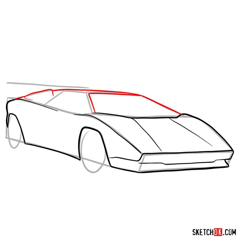 How to draw Lamborghini Countach - step 07